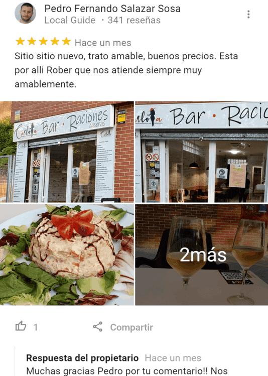 Carlota bar reseñas google (1)