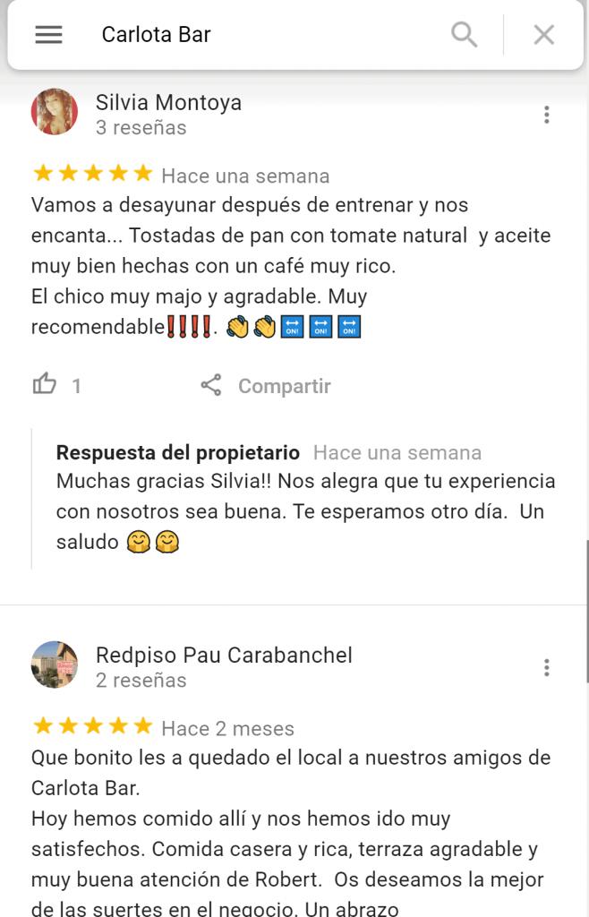 Carlota bar reseñas google (5)